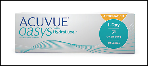 Acuvue Oasys 1-Day for Astigmatism contact lenses are designed to use the natural power of the blink to maintain the correct position.