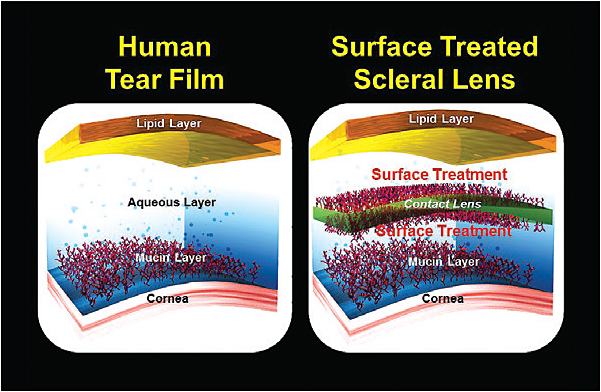 Figure 2. The 90% water surface polymer creates a mucin-like hydrophilic surface to contact lenses.