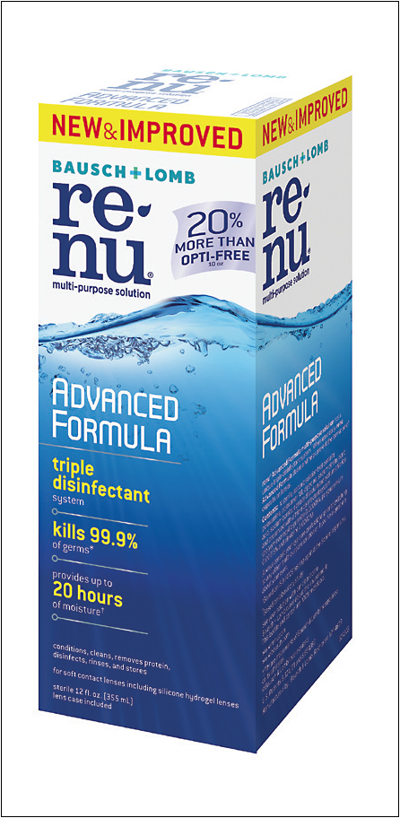 Bausch + Lomb's Renu Advanced Formula has a triple disinfectant system and two surfactants, which the company says helps to provide excellent lens cleaning and all-day comfort. The new formula has replaced the previous solutions in the Renu line — Renu Sensitive and Renu Fresh — and is now the only Renu solution on the market.