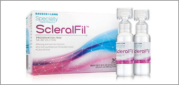 Bausch + Lomb's ScleralFil solution is indicated for applying scleral lenses and for rinsing soft and GP contact lenses.