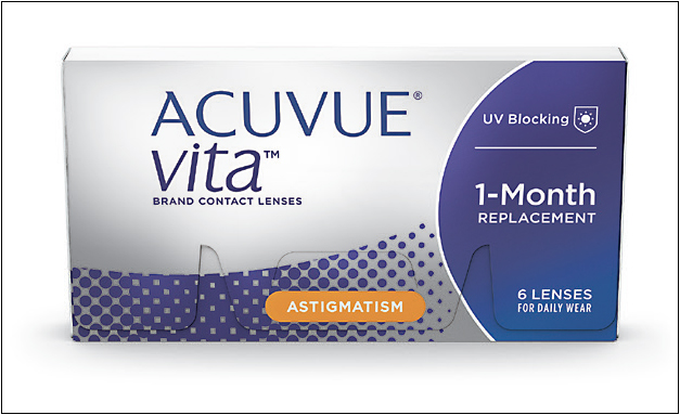 Acuvue Vita for Astigmatism combines two technologies to help maintain lens wearing comfort and stable astigmatism correction.