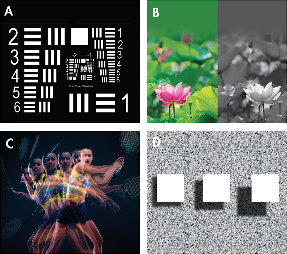 Figure 2. Contributions of the visual system to discriminating efficiency include: (A) resolution, (B) chromatic contrast, (C) motion detection, and (D) stereoacuity.
