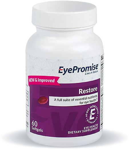 EyePromise Restore has been reformulated to now include vitamins B6 and B12 as well as folic acid and Co-enzyme Q10.