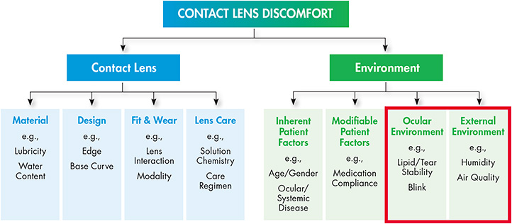 Figure 1. The TFOS Contact Lens Discomfort Workshop Classification.3 The red box highlights two major environmental factors related to digital eye strain that can impact contact lens comfort.