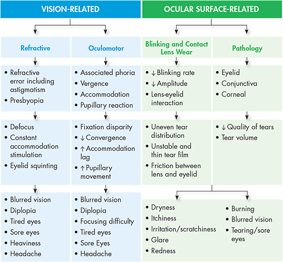 Figure 2. Vision- and ocular surface-related symptoms and causes.6,8