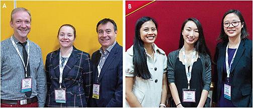 Figure 3. (A) Scientific Category Poster winners (left to right): Frank Spors, Lacey Haines, and Lyndon Jones. (B) Clinical Category Poster winners (left to right): Melanie Frogozo, Carol Yu, and Florencia Yeh.