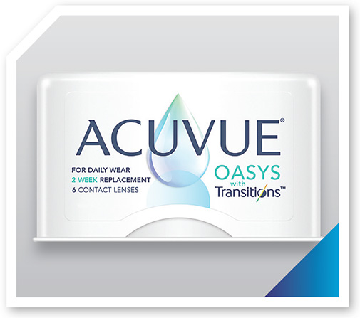 Acuvue Oasys with Transitions adapts to changing light conditions to help improve vision and comfort for patients.