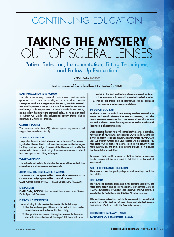 Taking the Mystery Out of Scleral Lenses